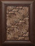 сборный фасад МДФ «Фронтера», рамка «акация», филенка «искусственная кожа» с твердым исполнением.